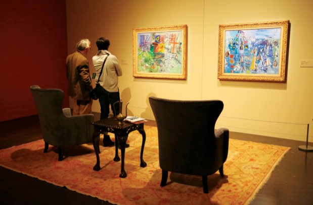 """""""Regatta at Cowes"""" is by Raoul Dufy, a contemporary of Matisse's and one  of the artists featured in the exhibit. It is seen in detail, below,  and in an exhibit room. [Photo by Irma Laliashvili']"""